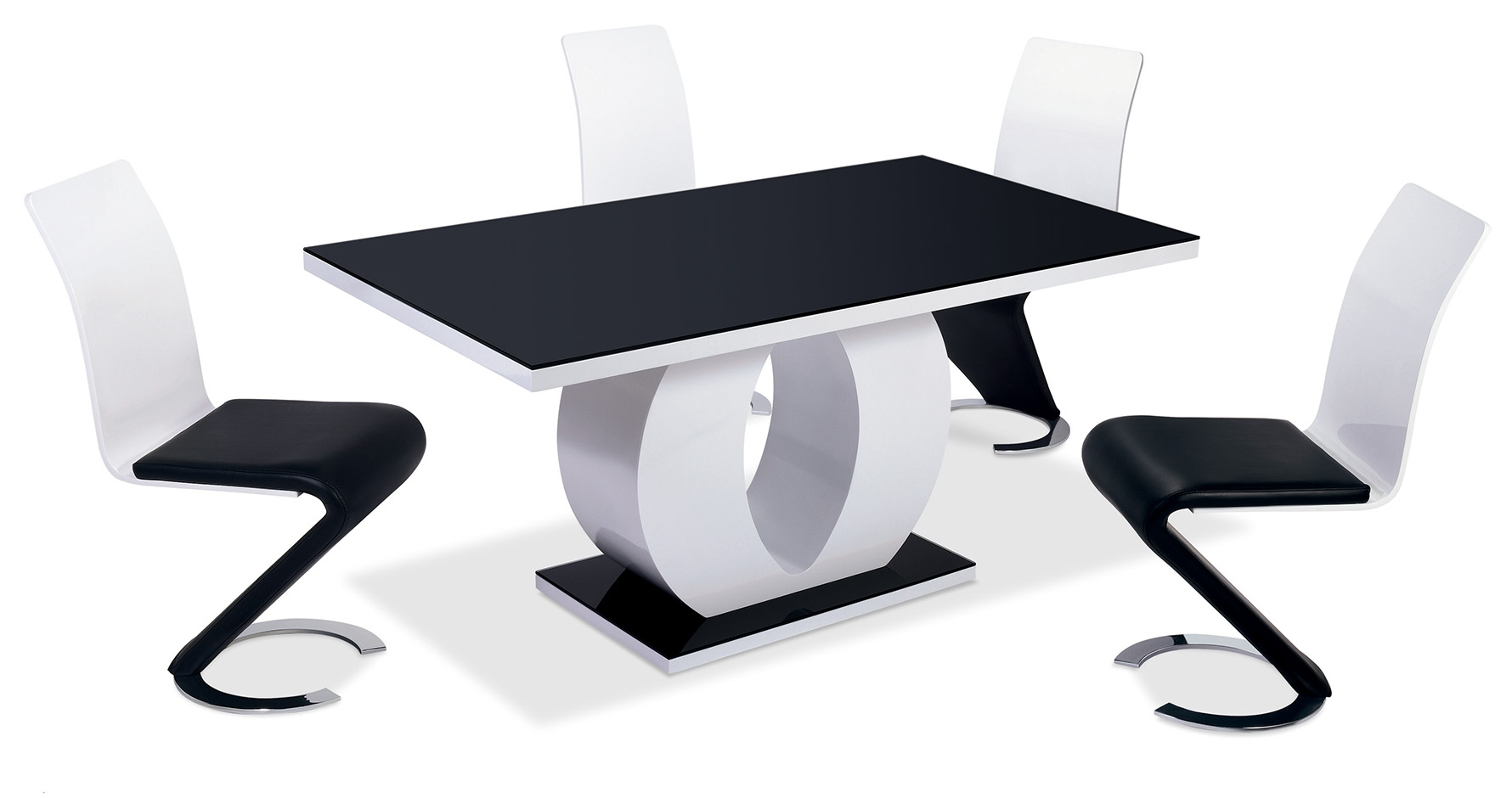 Chaise et table design le monde de l a for Ensemble table et chaise noir et blanc
