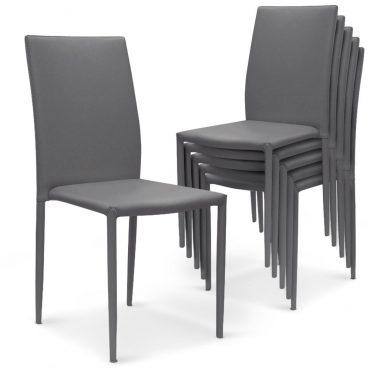 Chaise cuir gris clair