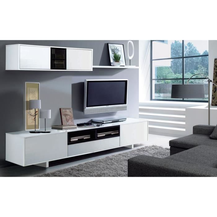 meuble tv 200 cm blanc maison design. Black Bedroom Furniture Sets. Home Design Ideas