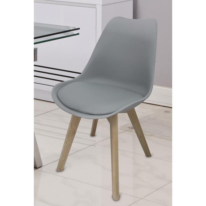 Chaise blanche pied bois clair le monde de l a for Chaise grise transparente