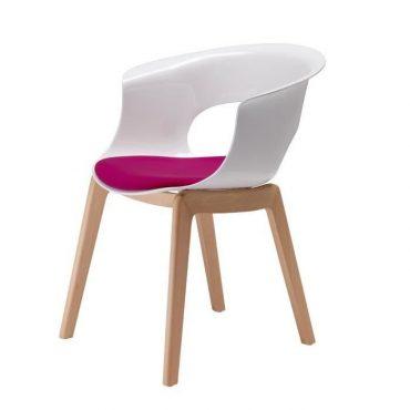 Chaise design blanche et bois