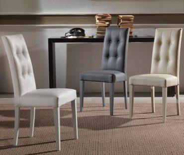 Chaise simili cuir gris