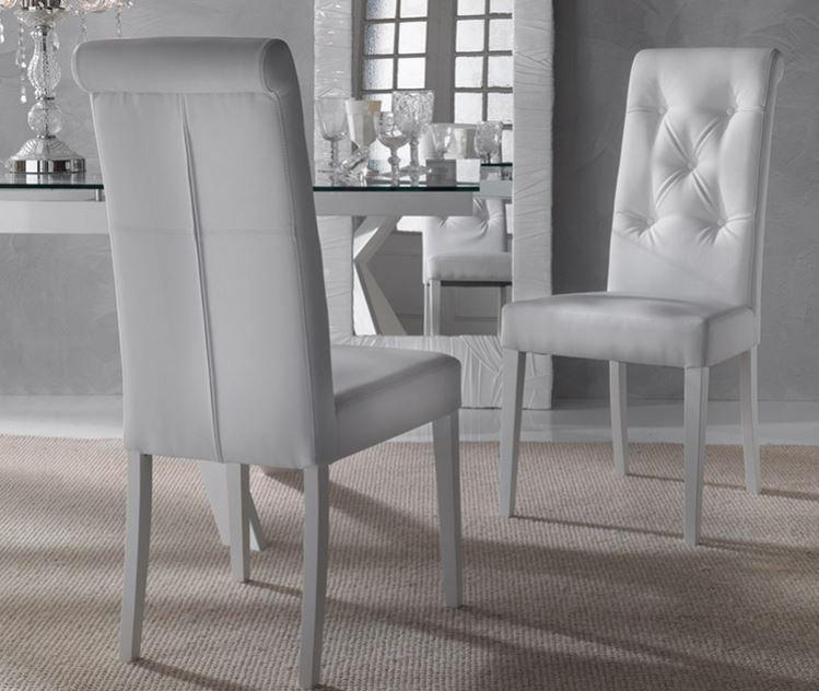 chaise salle a manger cuir blanc le monde de l a. Black Bedroom Furniture Sets. Home Design Ideas