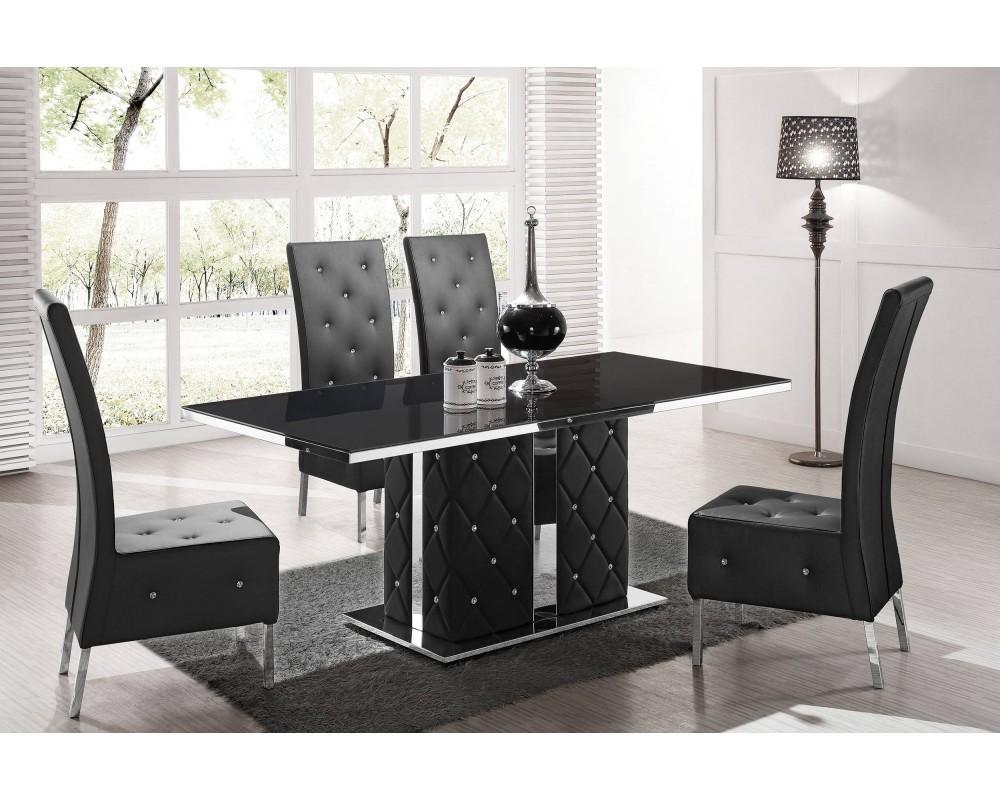 Chaise salle a manger noire design le monde de l a for Table salle a manger design luxe