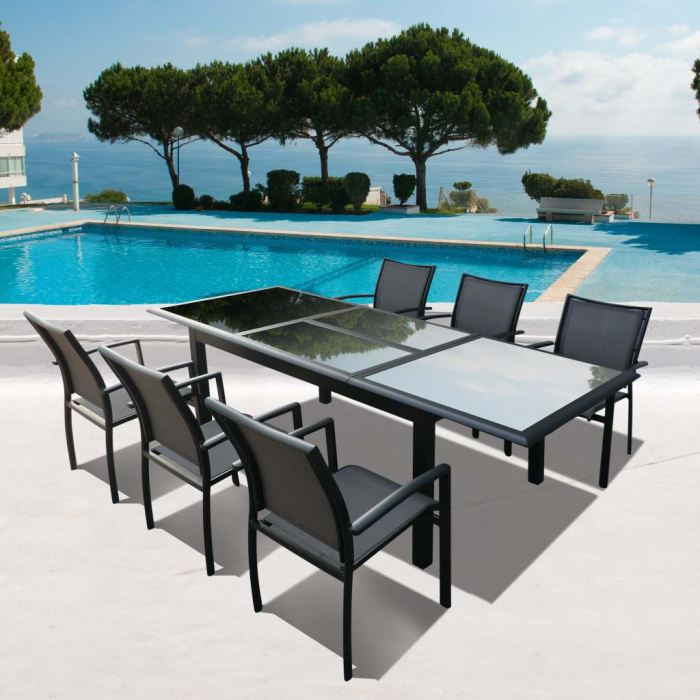 table de salon de jardin le monde de l a. Black Bedroom Furniture Sets. Home Design Ideas