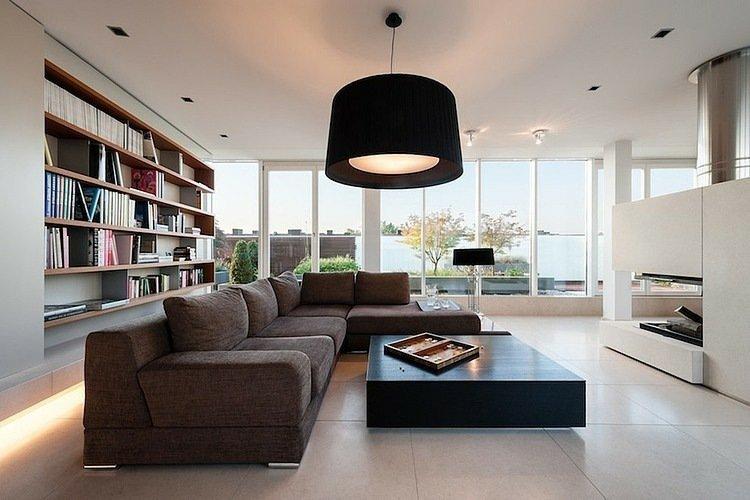 luminaire moderne salon lustre abat jour noir Résultat Supérieur 15 Beau Luminaire Contemporain Salon Photographie 2017 Hht5