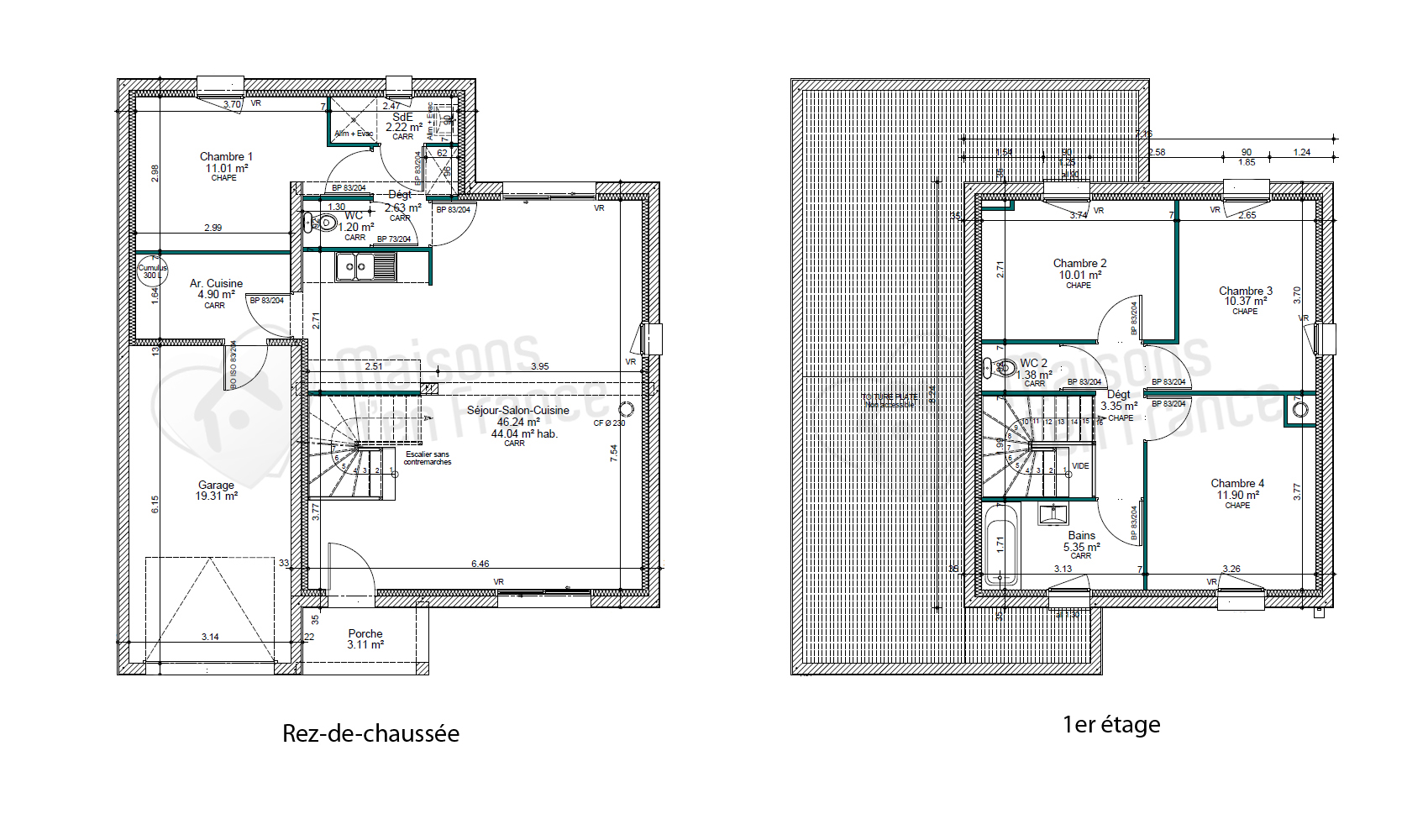 Plan maison contemporaine toit plat le monde de l a for Plan de maison cubique