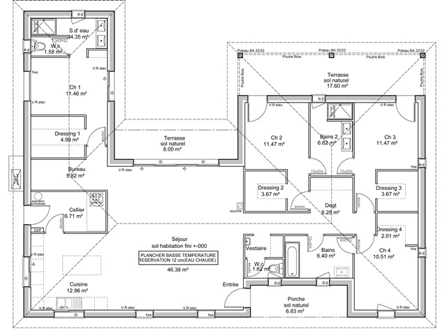 Plan maison contemporaine en u le monde de l a for Plan maison contemporaine en u