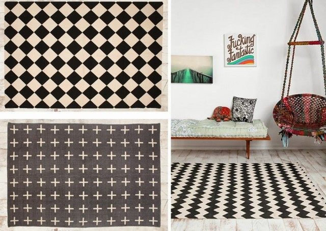 tapis scandinave noir et blanc le monde de l a. Black Bedroom Furniture Sets. Home Design Ideas