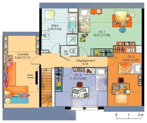Plan maison etage moderne - Le monde de Léa
