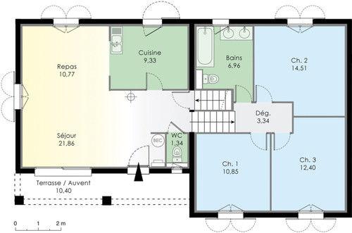 Villa basse moderne avec plan