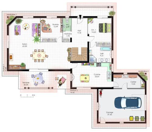 plan maison moderne tage