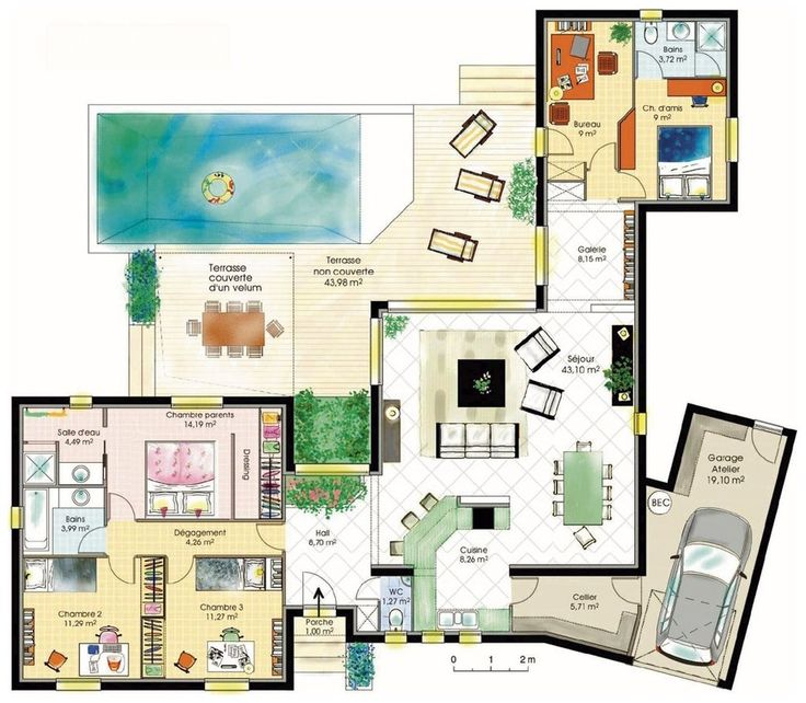 idee plan maison le monde de l a. Black Bedroom Furniture Sets. Home Design Ideas