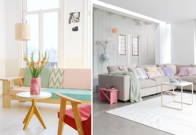 salon scandinave pastel le monde de l a. Black Bedroom Furniture Sets. Home Design Ideas