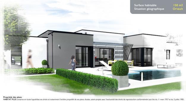 Plan maison plain pied moderne toit plat - Le monde de Léa