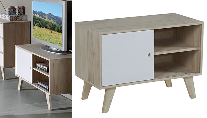 Petit meuble tv scandinave le monde de l a for Petit meuble angle salon