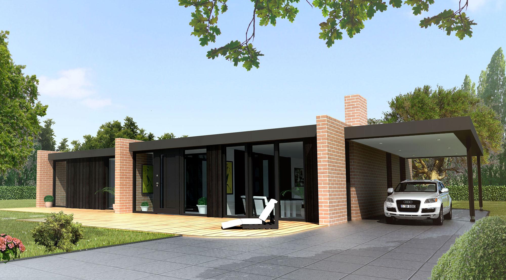 Souvent Maison contemporaine toit plat plain pied - Le monde de Léa QO81