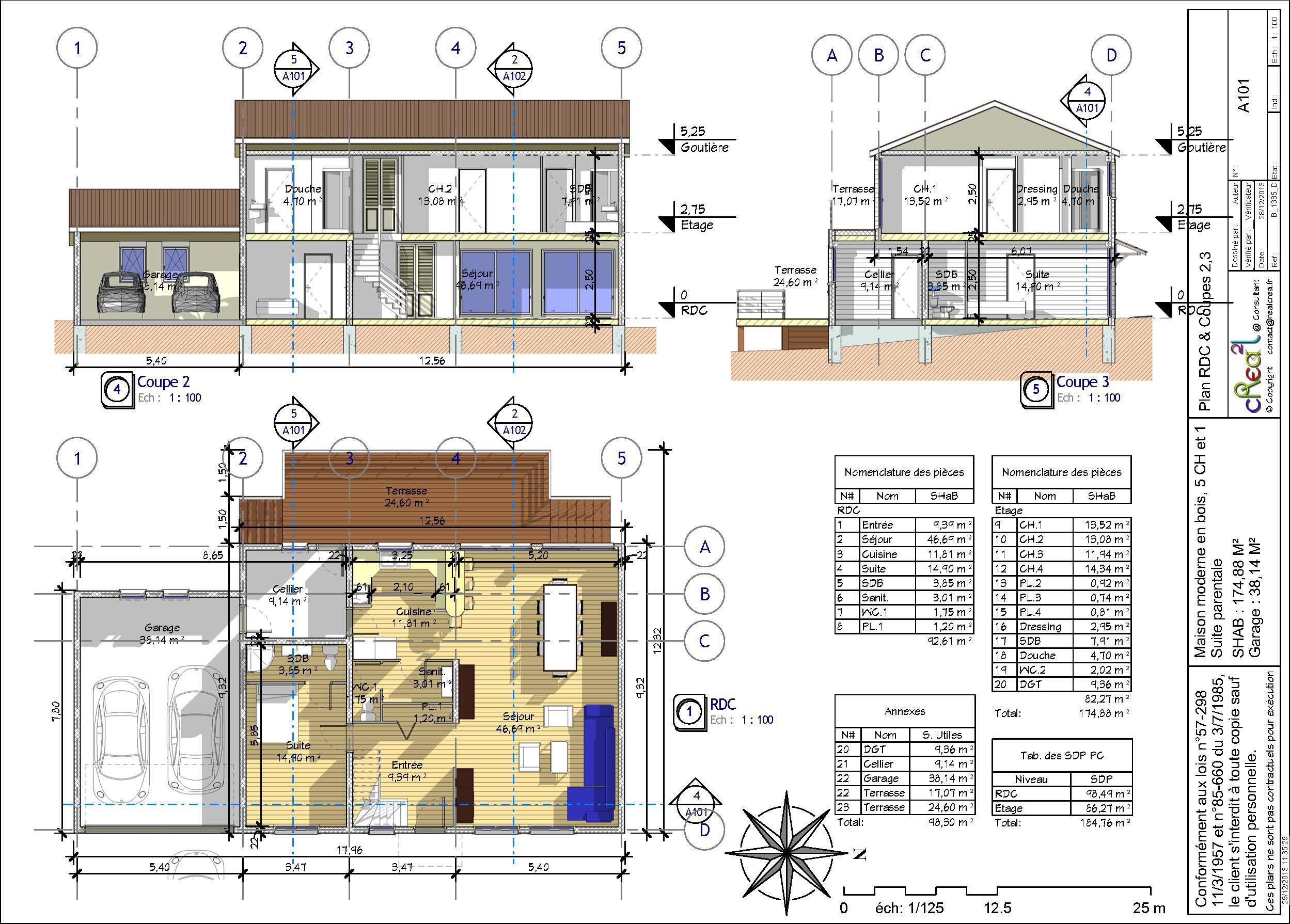 plan de maison r+1 moderne
