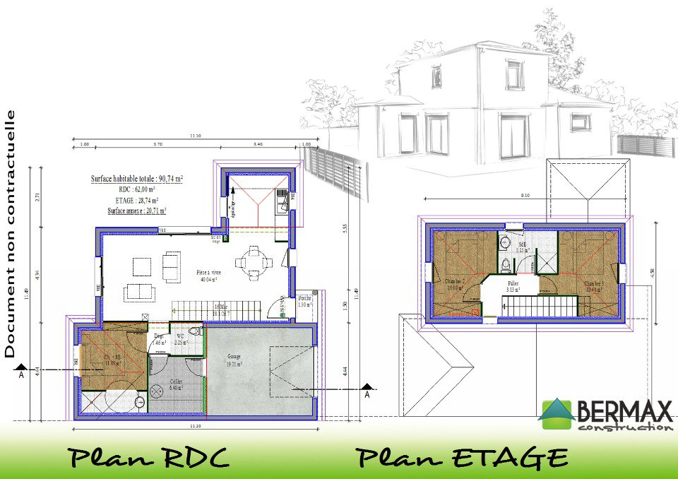 Plan maison 130 m2 etage great la plan de cette maison en for Plan maison moderne a etage