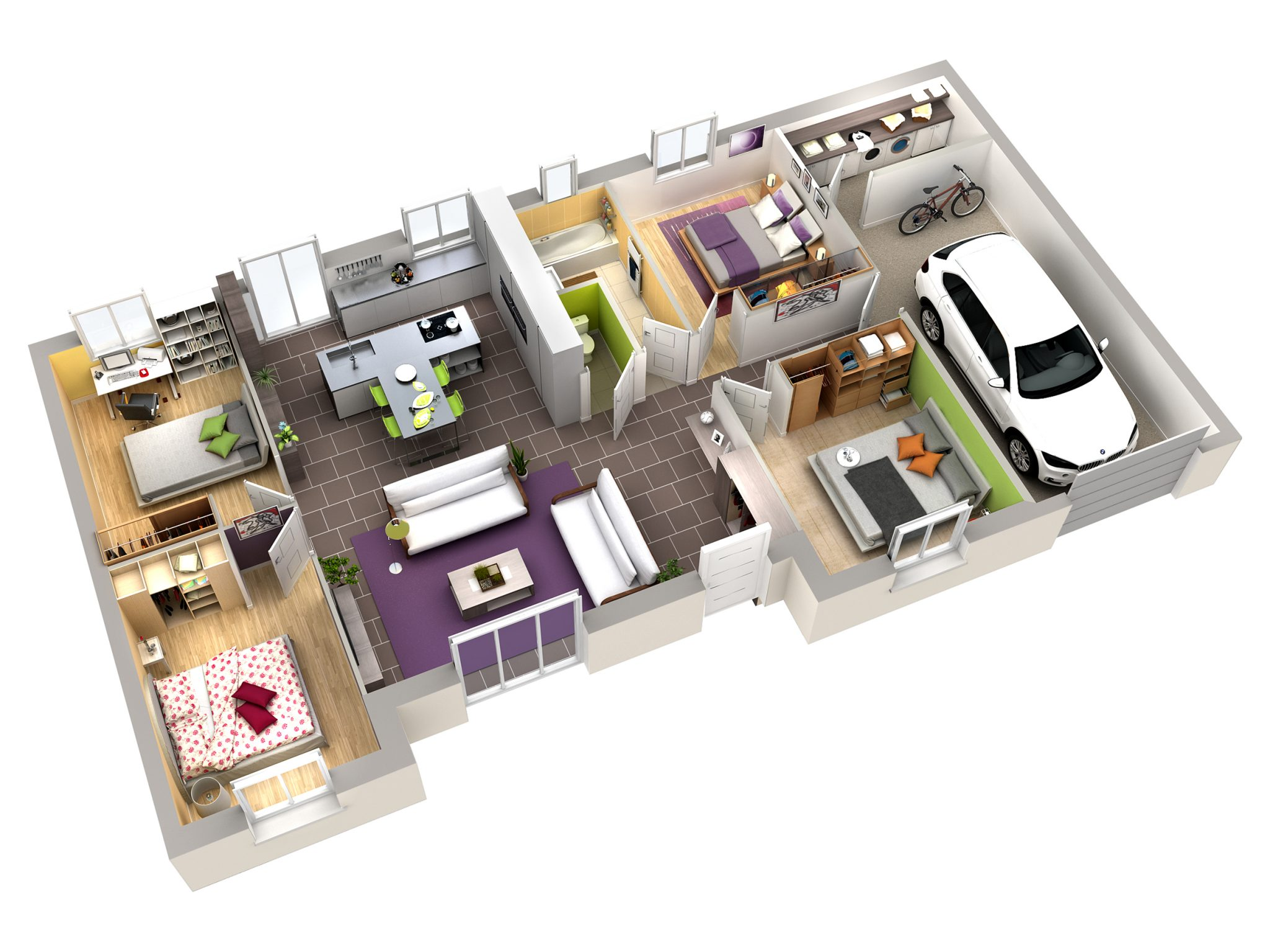 Plan interieur maison moderne