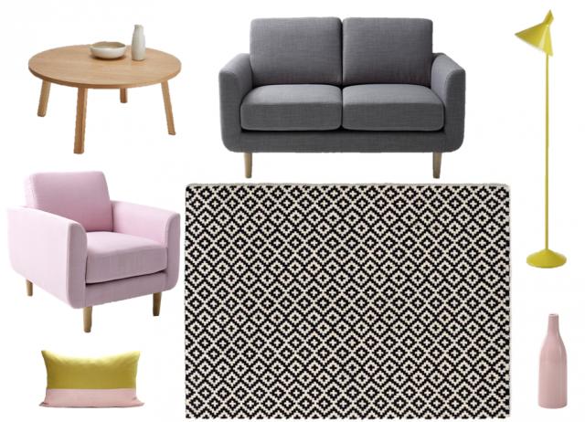 tapis jaune scandinave le monde de l a. Black Bedroom Furniture Sets. Home Design Ideas
