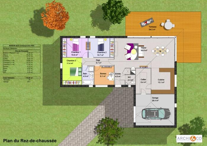 plan de maison plain pied - Plan Petite Maison Plain Pied