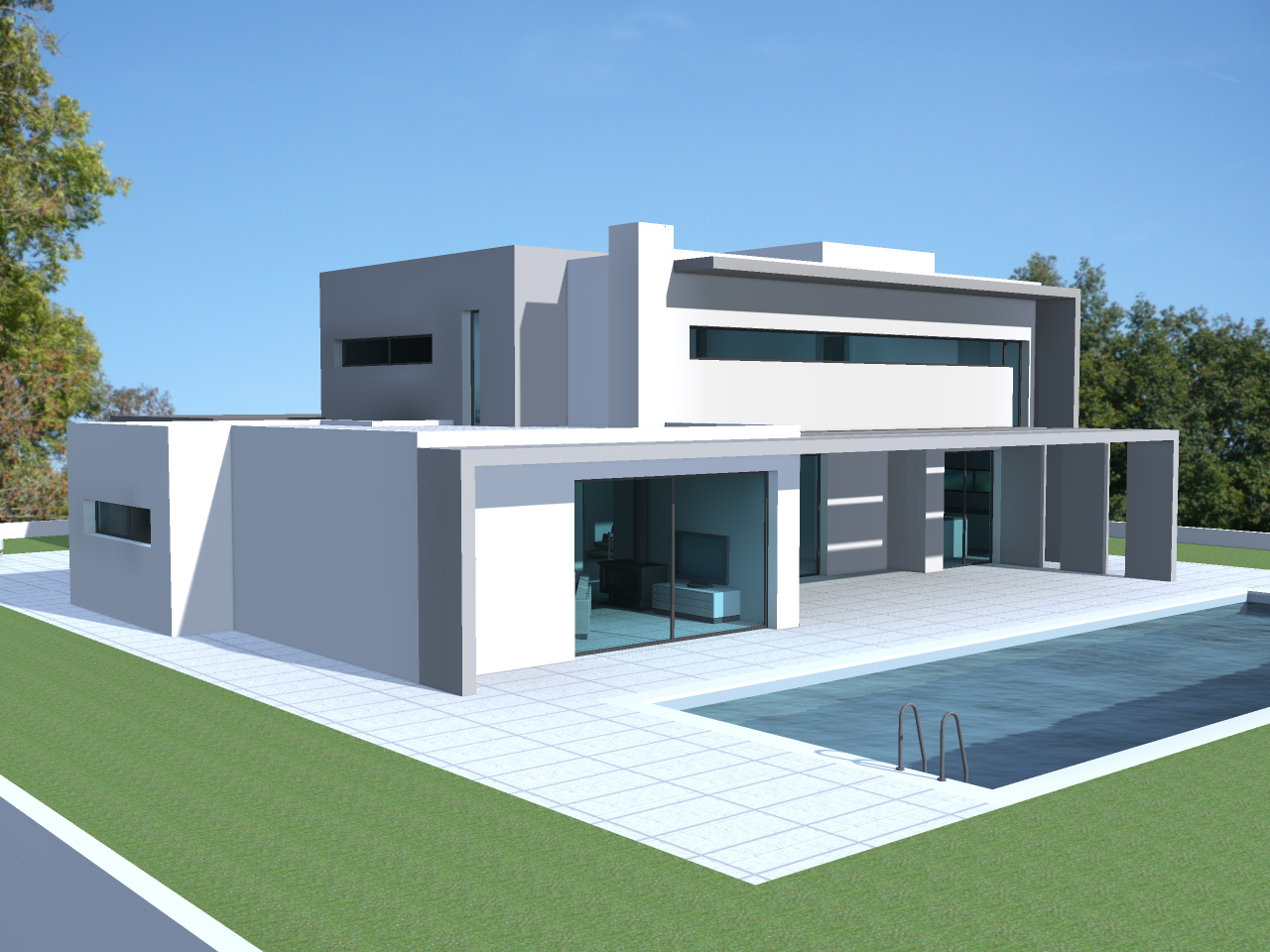 Maison moderne toit terrasse - Le monde de Léa
