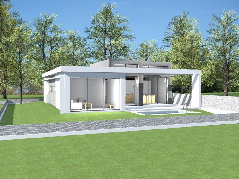 plan maison toit terrasse plain pied le monde de l a. Black Bedroom Furniture Sets. Home Design Ideas