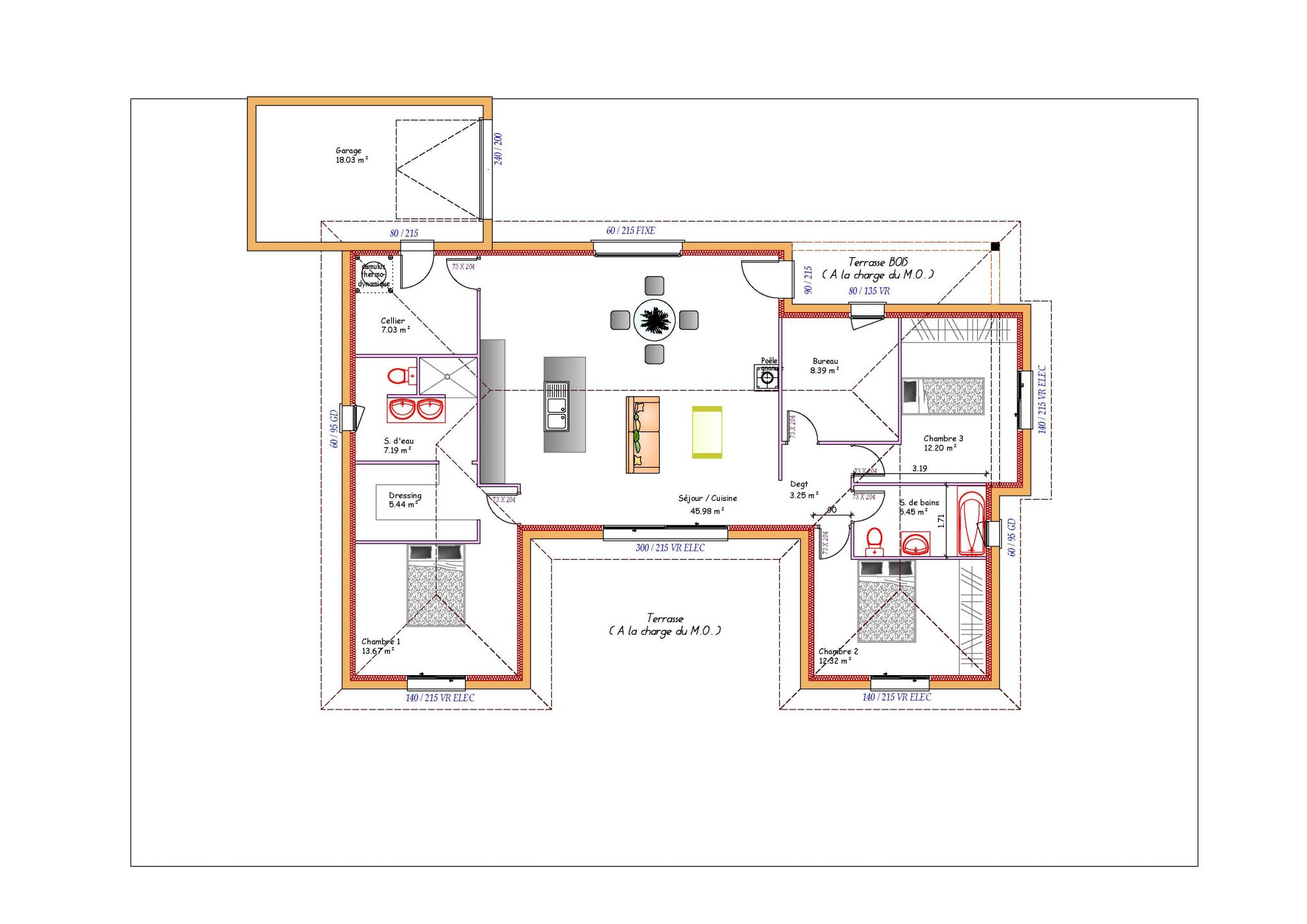 Plan maison moderne en u le monde de l a for Maison moderne en u