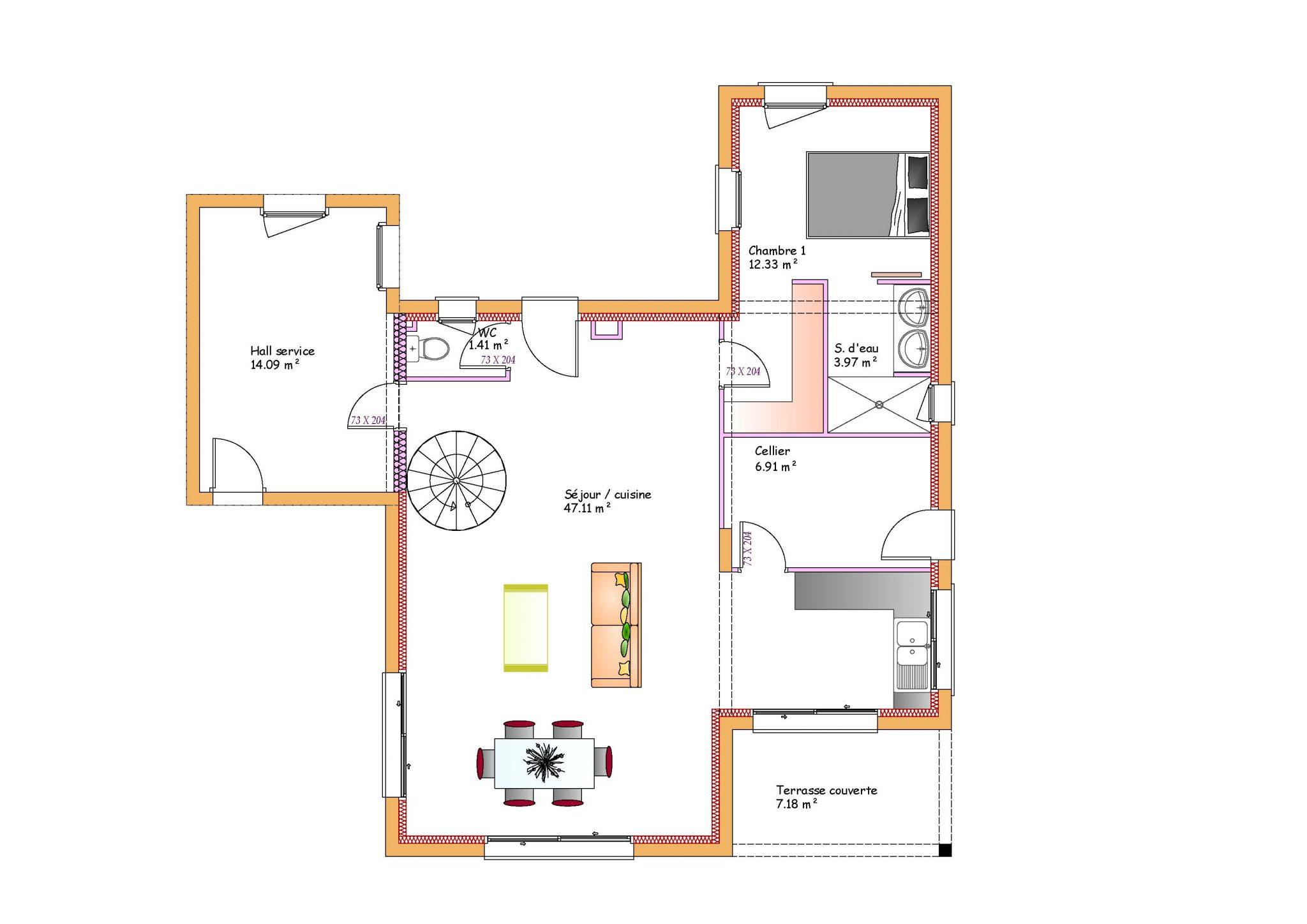 Plan Maison Chambres Etage Logiciel Gratuit Moderne Home Plan - Plan maison toit plat gratuit