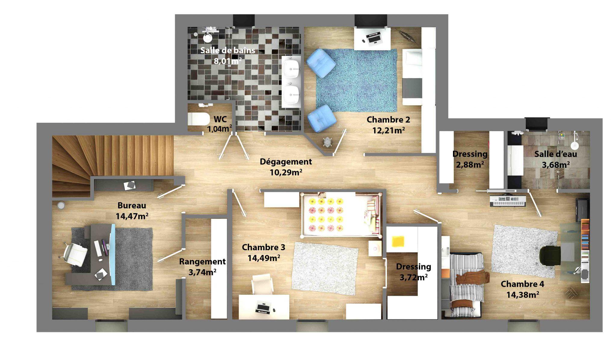 Mod le maison moderne tage le monde de l a for Modele plan maison etage
