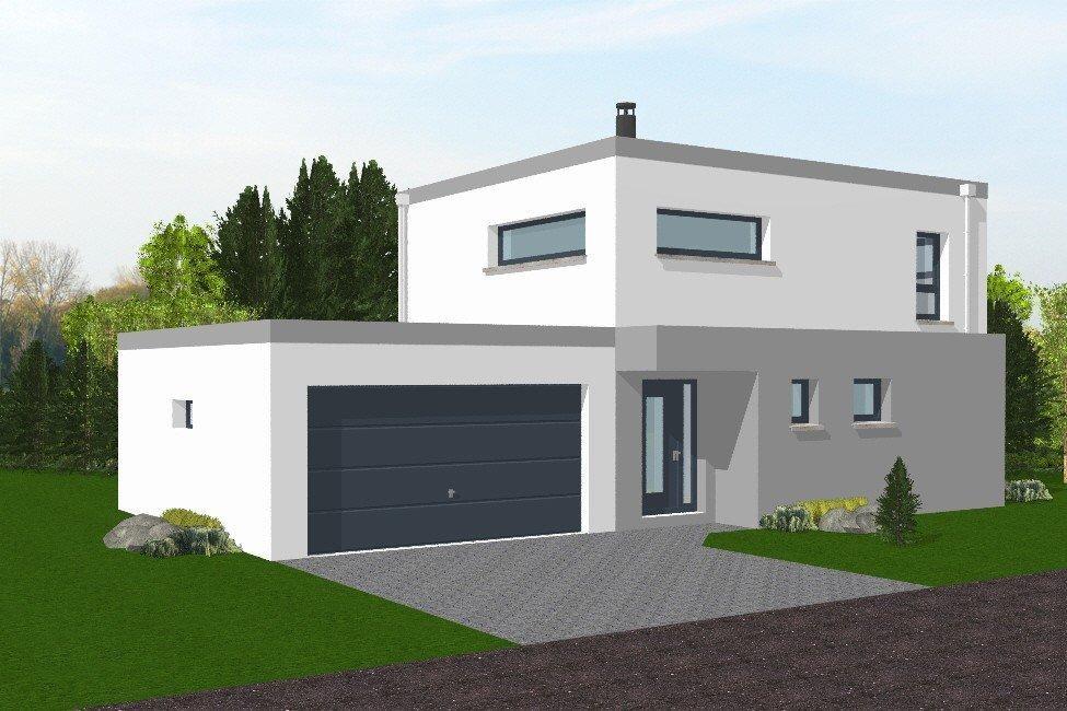 Maison toit plat contemporaine le monde de l a for Plan maison neuve contemporaine