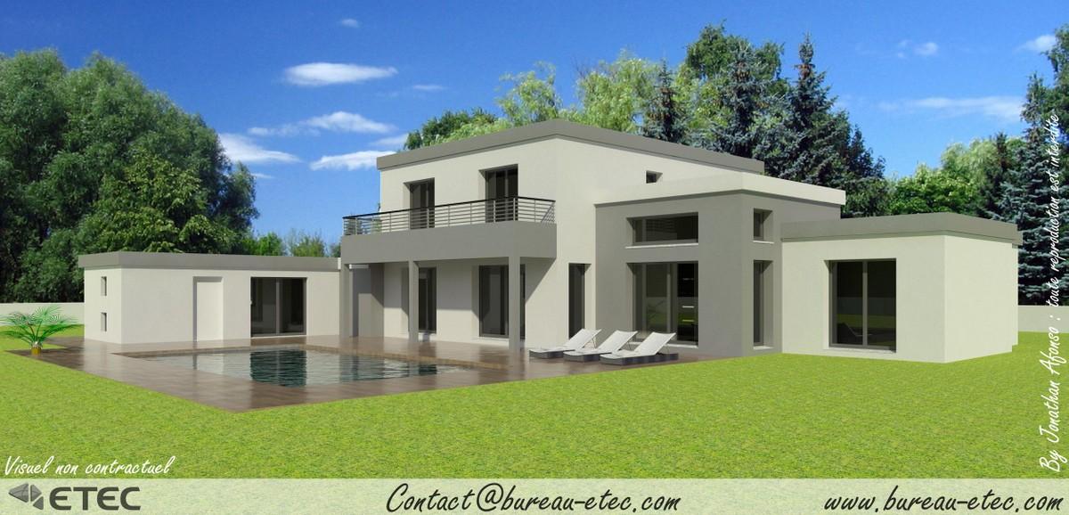 plan de maison toit terrasse le monde de l a. Black Bedroom Furniture Sets. Home Design Ideas