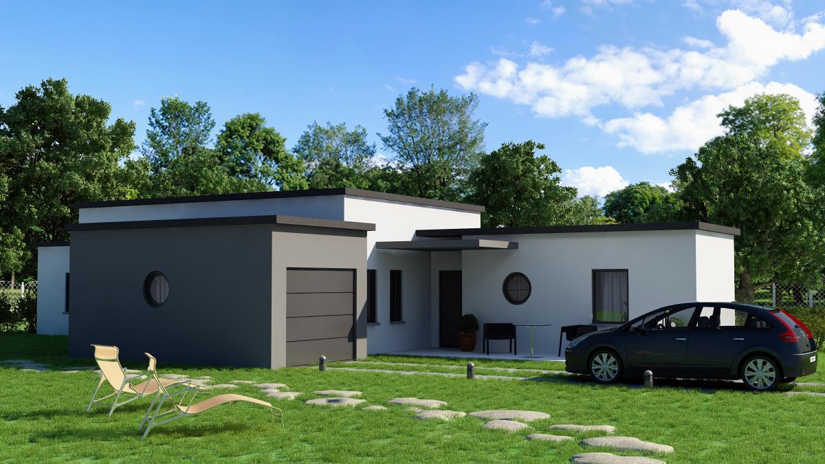 plan maison contemporaine plain pied toit plat le monde. Black Bedroom Furniture Sets. Home Design Ideas