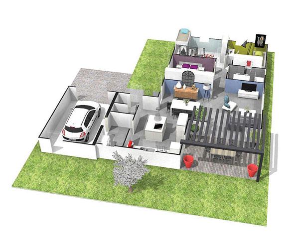 Maison moderne plain pied toit plat le monde de l a - Plan maison contemporaine plain pied toit plat ...