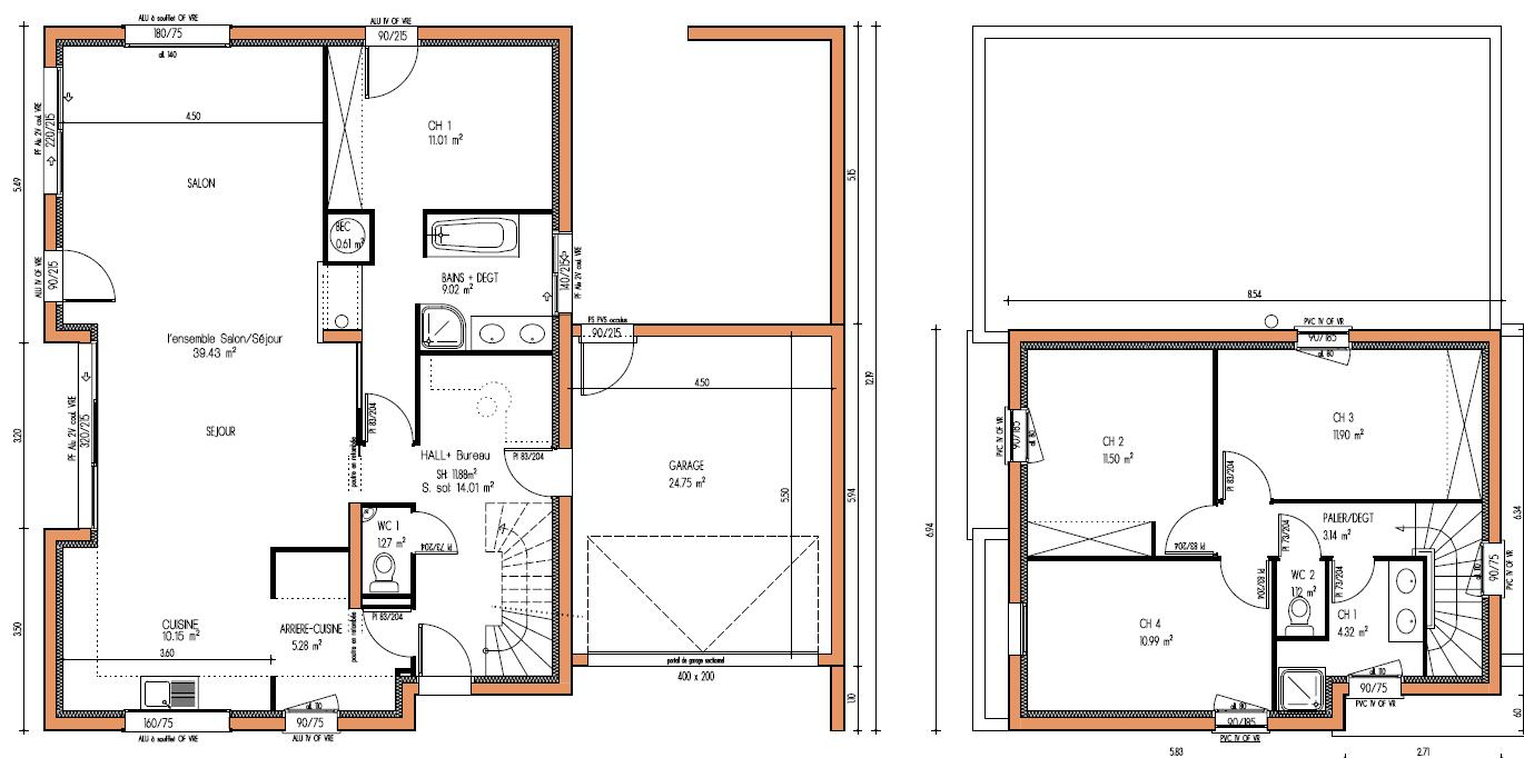 Plan maison contemporaine etage le monde de l a for Plan maison cube etage