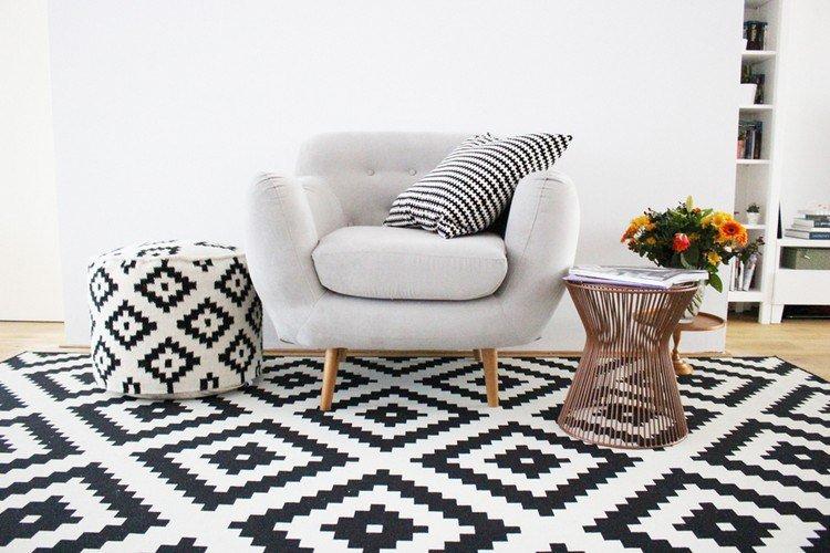 tapis scandinave noir et blanc le monde de l a. Black Bedroom Furniture Sets. Home Design Ideas